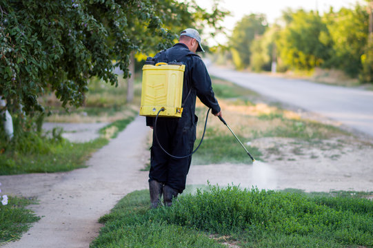 A man in overalls from a sprayer behind his back to spray weeds.  Pest control concept