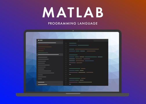 Matlab programming language. Learning concept on the laptop screen code programming. Command line Matlab interface with flat design and gradient purple background.