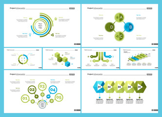 Set of teamwork and statistics concept infographic charts