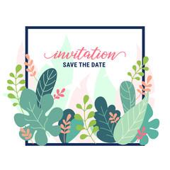 Fantasy floral frame invitation card with fantastic plants. Pastel colors flat style vector illustration. Graphic design template for flyer, banner, poster, website, postcard, wedding invitation.