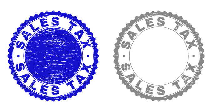 Grunge SALES TAX stamp seals isolated on a white background. Rosette seals with grunge texture in blue and gray colors. Vector rubber stamp imitation of SALES TAX label inside round rosette.