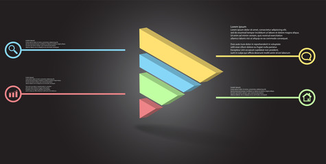 3D illustration infographic template with embossed triangle divided to four parts
