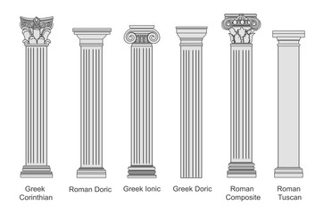 Ancient pillars set isolated on white background. Different architecture pillars with stone effect. Classical columns vector set. Fototapete