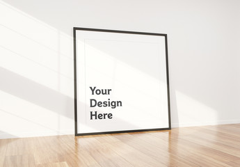 Black Frame Leaning Against Wall Mockup