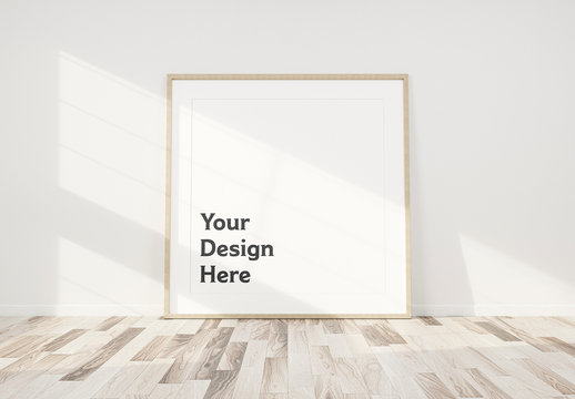 White Frame Leaning Against Wall Mockup