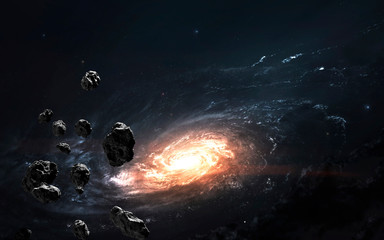 Wall Mural - Asteroid field against galaxy, awesome science fiction wallpaper, cosmic landscape. Elements of this image furnished by NASA