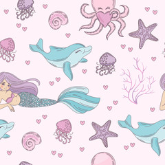 SEA PATTERN Underwater Tropical Ocean Travel Cruise Seamless Pattern Vector Illustration for Print, Fabric and Decoration.