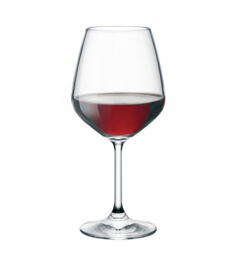 Red wine in glass isolated on white background. Side view.