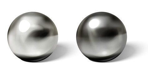 Steel balls on white surface realistic vector