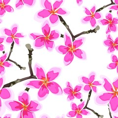Seamless pattern with bright pink flowers. Floral décor of plumeria branch. Elegant tropical floral print for fabric design, woman dress, background, wrapping paper, cover. White background.