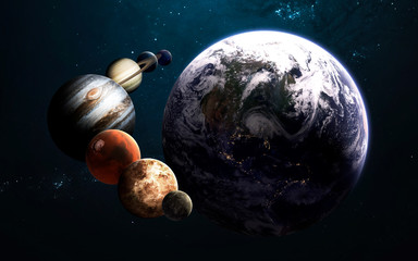 Planets of the Solar system. Science fiction art. Elements of this image furnished by NASA