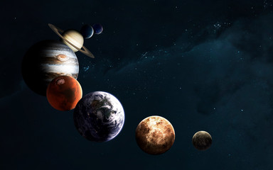 Wall Mural - Planets of the Solar system against Milky Way. Science fiction art. Elements of this image furnished by NASA