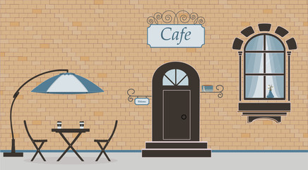 Pretty scenery in a rustic style. A facade of cafe, brick wall, window, door, stairs, flowers. The sun umbrella, cute wooden table with cardboard cups of coffee and chairs. Vector illustration