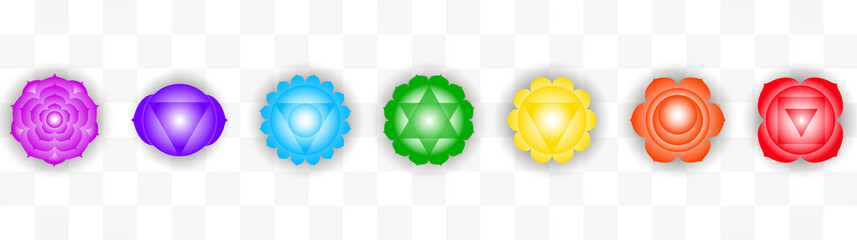 Set of seven colorful chakras symbols isolated on transparent background. Object for design
