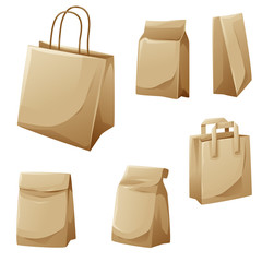Brown paper bags cartoon design collection vector illustration