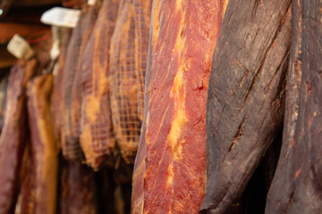 Variety of homemade smoked or dried meat