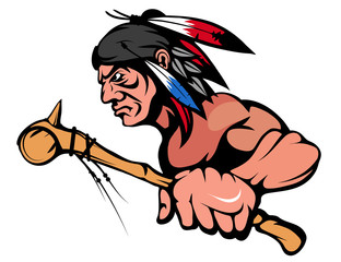 American Indian Chief Mascot Graphic, indian warrior with a traditional weapon, indian chief suitable as logo or team mascot, american native chief with battle mace in hand
