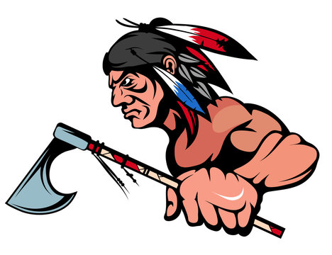 American Indian Chief Mascot Graphic, indian warrior with a traditional weapon, indian chief suitable as logo or team mascot, american native chief with an ax in his hand
