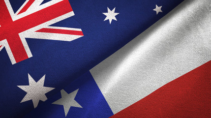 Australia and Chile two flags textile cloth, fabric texture