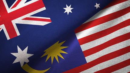 Australia and Malaysia two flags textile cloth, fabric texture