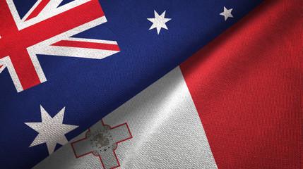 Australia and Malta two flags textile cloth, fabric texture