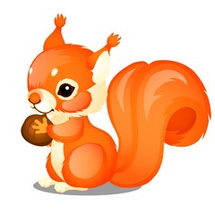 Cute animated fluffy squirrel and nut isolated on white background. Vector cartoon close-up illustration.