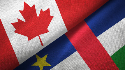 Canada and Central African Republic two flags textile fabric texture