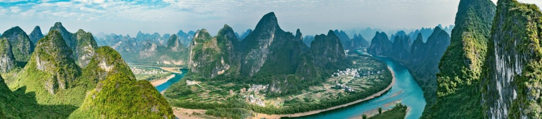 Panoramic view of Li River. Yangshuo. Guangxi Province.