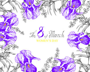 vector background flowers composition frame with irises, lilies and mimosa