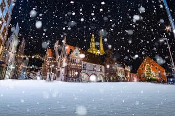 Lemgo Marktplatz im Schnee