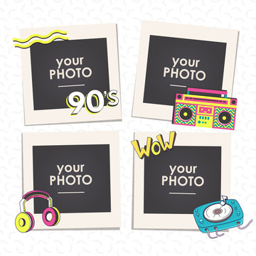Cartoon Art Styles. Template frames back to 90 vector illustration. This photo frame you can use for kids picture, funny photos, card and memories. Scrapbook design concept. Insert your picture.