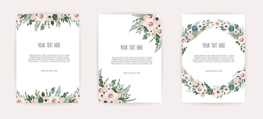 Set of card with leaves and geometrical frame. Floral poster, invite.
