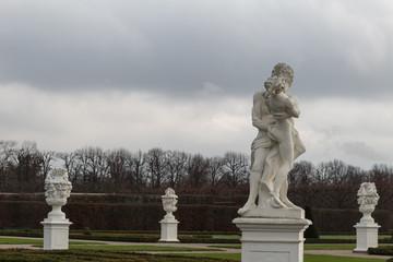 herrenhausen palace statues center winter cloudy zeus