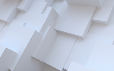 Abstract white background. Random plaster cubes Wall mural