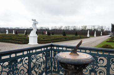 herrenhausen palace gardens sundial winter cloudy overcast