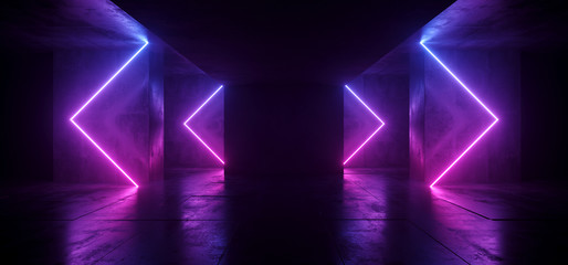 Sci Fi Arrows Shaped Neon Cyber Futuristic Modern Retro Alien Dance Club Glowing Purple Pink Blue Lights In Dark Empty Grunge Concrete Reflective Room Corridor Background 3D Rendering Wall mural