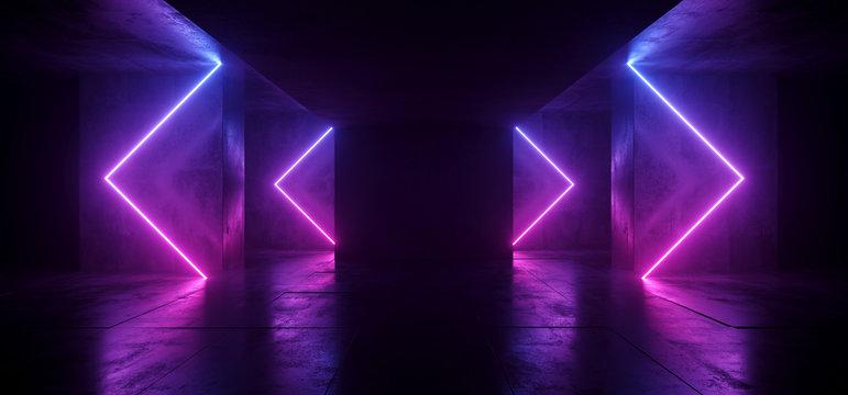 Sci Fi Arrows Shaped Neon Cyber Futuristic Modern Retro Alien Dance Club Glowing Purple Pink Blue Lights In Dark Empty Grunge Concrete Reflective Room Corridor Background 3D Rendering