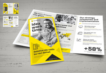 Yellow and White Trifold Brochure Layout