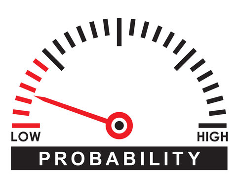 low  probability  dial scale - likelihood   illustration design template