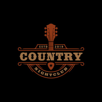 Country Guitar Music for Western Saloon Bar Cowboy logo design