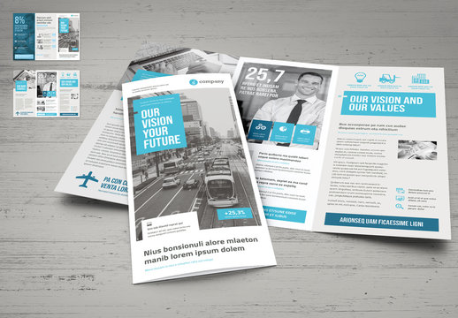 Gay and White Trifold Brochure Layout with Blue Accents