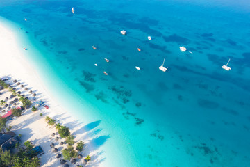 Poster Zanzibar The beautiful tropical Island of Zanzibar aerial view. sea in Zanzibar beach, Tanzania.