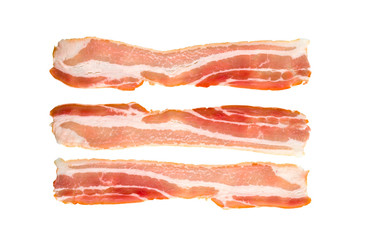 A slice of bacon on a white background. Three raw bacon close up on a white background.