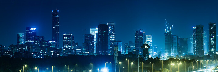 Panorama Of Tel Aviv City And Ayalon Freeway At Night