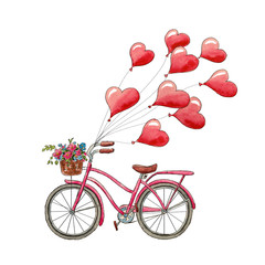 Watercolor  bicycle and  hearts for Valentine's Day. Romantic picture. Greeting card with balloons
