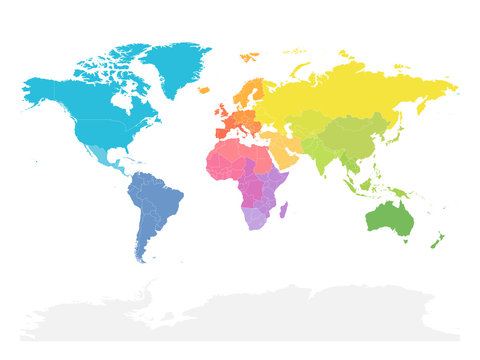 Colorful map of World doivided into regions. Simple flat vector illustration