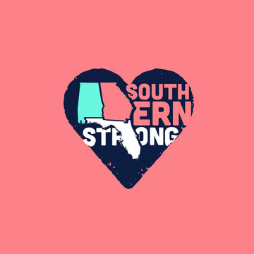 Southern Strong Heart Logo Design States Silhouettes