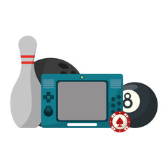 Videogames console with pool ball and bowling