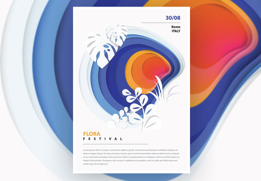 Poster Layout with Floral Cutout Illustration