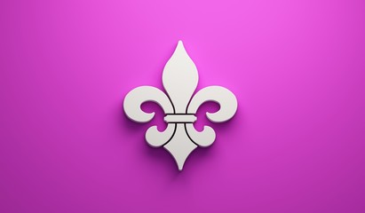 Mardi Gras Fleur-de-Lis in Pink Background. 3D Render Illustration